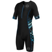 Zone3 Mens Activate+ Short Sleeve Exclusive - S Black/Blue | Tri Suits